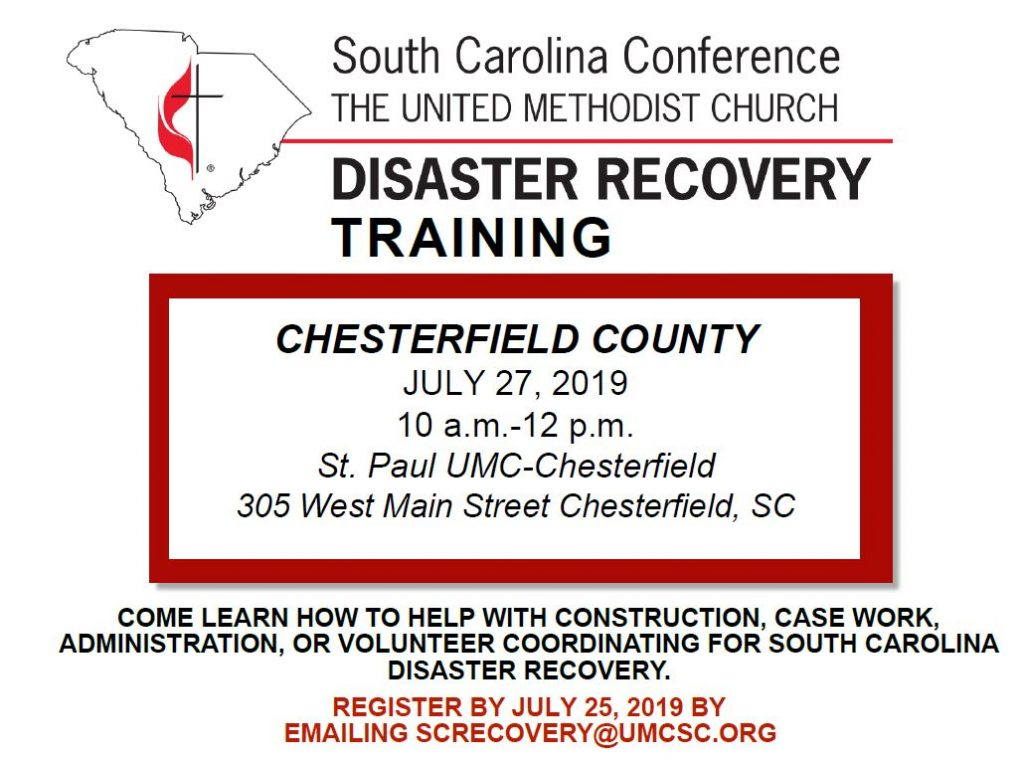 Disaster Recovery training set for July 27 in Chesterfield